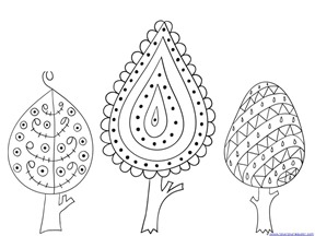 fall leaves and trees coloring 18 - Tree Leaves Coloring Page