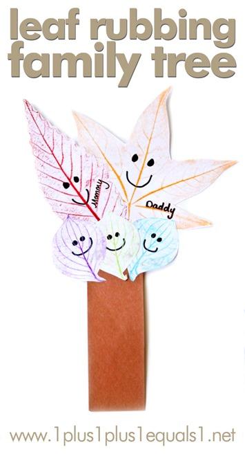 Leaf Rubbing Family Tree Craft