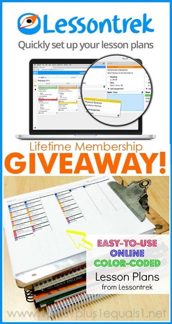 Lessontrek Homeschool Planner Lifetime Membership Giveaway