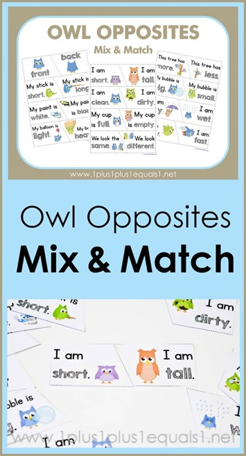 Owl Opposites Mix and Match printables