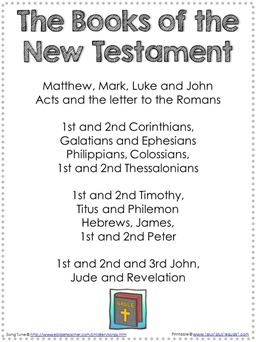 Books of the NewTestament Song Printable