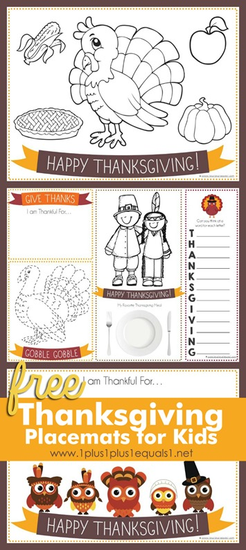 picture relating to Printable Thanksgiving Placemat named Printable Thanksgiving Placemats for Little ones - 1+1+1\u003d1