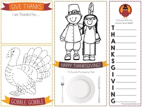 photo relating to Thanksgiving Placemats Printable known as Printable Thanksgiving Placemats for Children - 1+1+1\u003d1