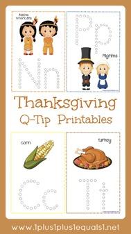 Thanksgiving Q Tip Printables