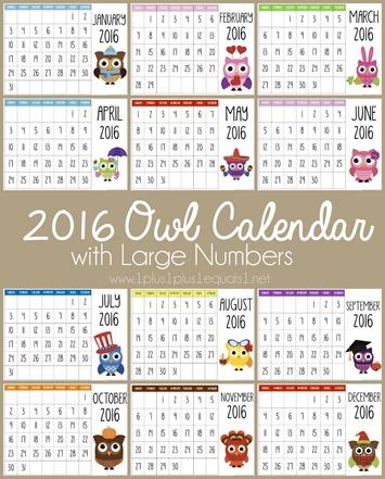2016 Printable Owl Calendars - 1+1+1=1