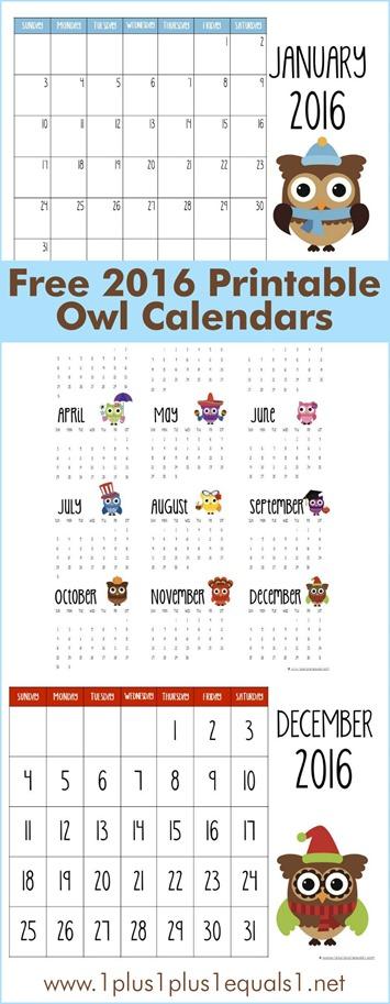 2016 Printable Owl Calendars