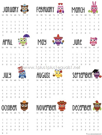 2016 Printable Year at a Glance Owl Calendar