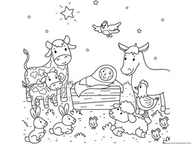 Christmas nativity coloring pages 1 1 1 1 for Nativity animals coloring pages
