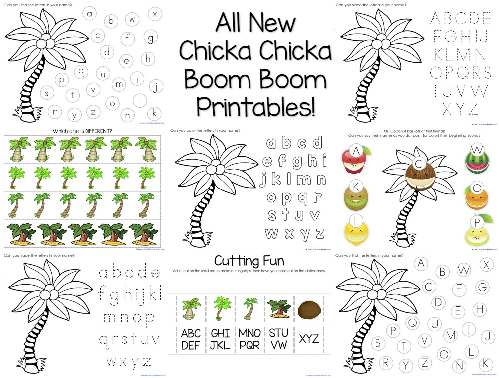 Chicka Chicka Boom Boom Theme Printables for Tot School and Preschool