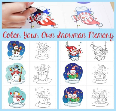 Color Your Own Snowman memory FB