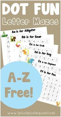 Dot Fun Letter Mazes A-Z Free