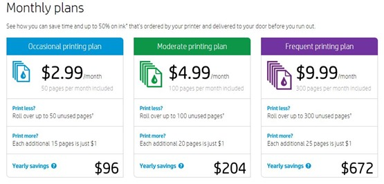HP Instant Ink Subscription Plans