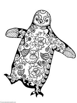 Penguin Doodle Coloring Pages 1111