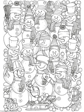 snowman coloring winter doodle coloring - Search And Find Pictures Printable