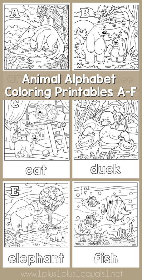 Animal Alphabet Coloring Printables A through F