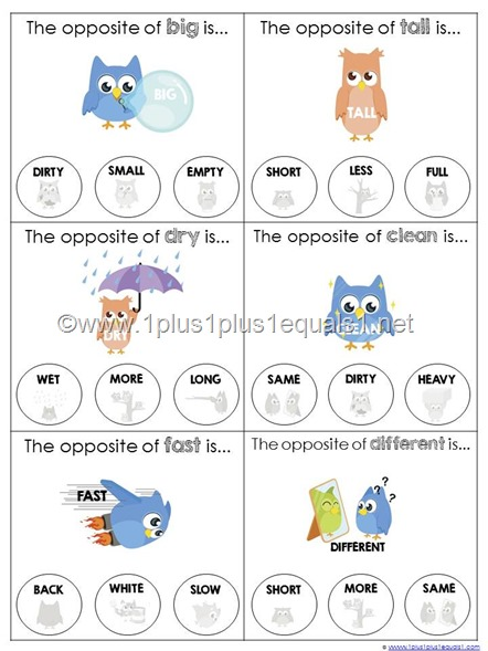 Number Names Worksheets list of opposites for preschoolers : Opposites Archives - 1+1+1=1