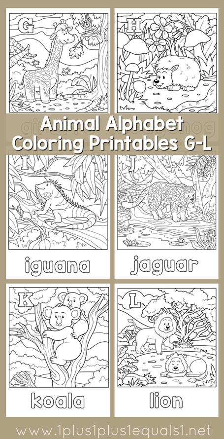 Animal Alphabet Coloring Printables G through L