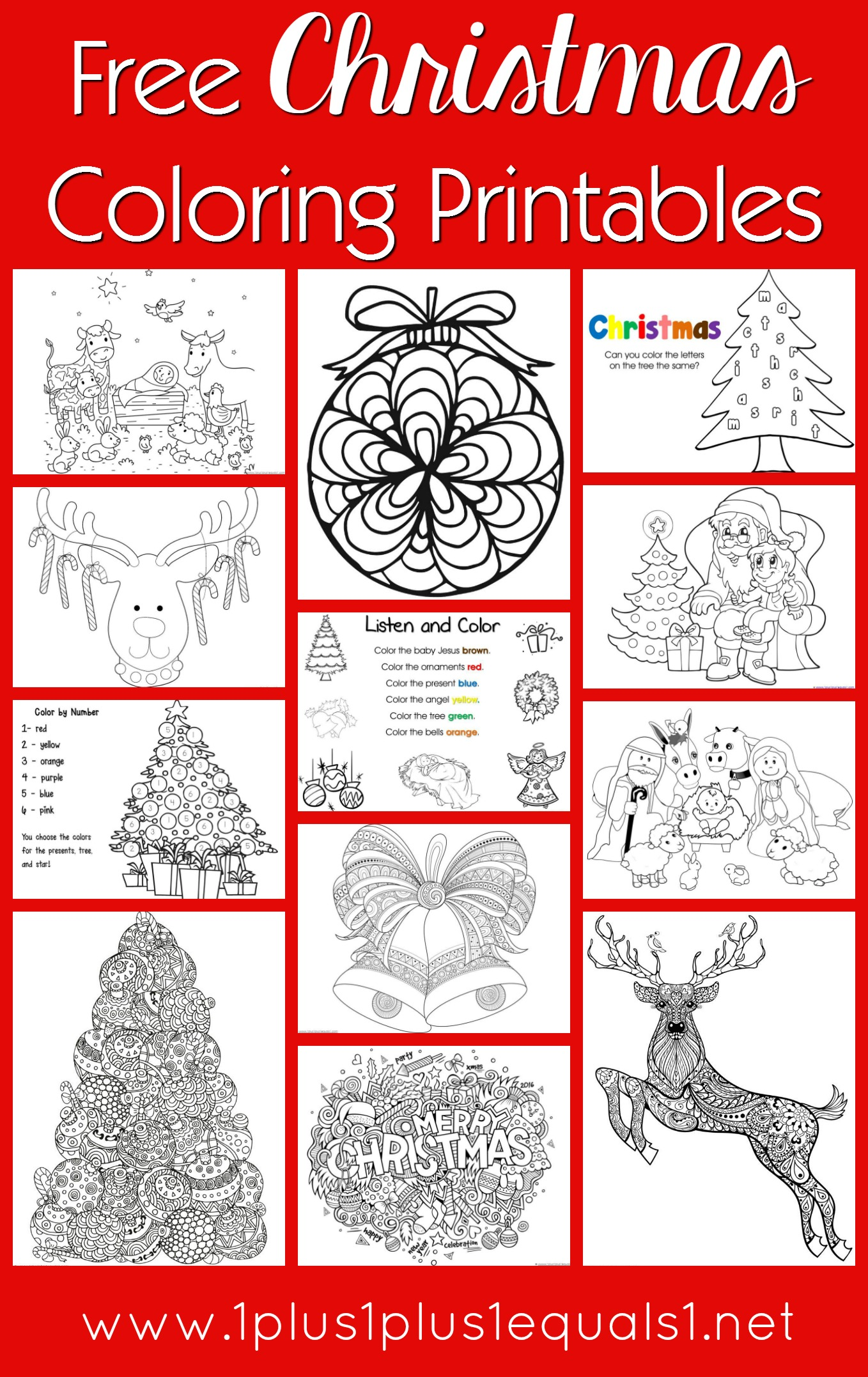 Free christmas coloring pages for kids adults 1 1 11