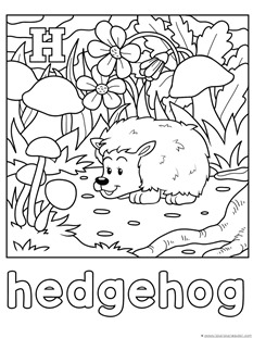 G For Giraffe Coloring Page H Hedghog