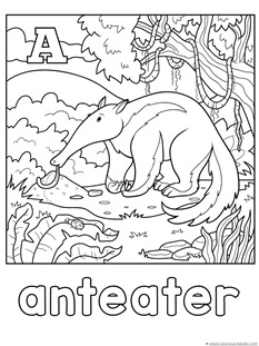 A for anteater coloring page