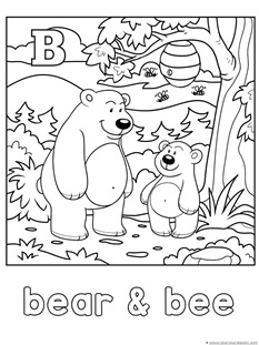 B for bear and bee coloring page