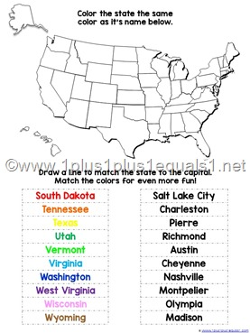 USA States and Capitals Worksheets