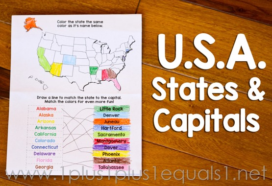 USA States and Capitals Worksheets 111 1 – States and Capitals Worksheet