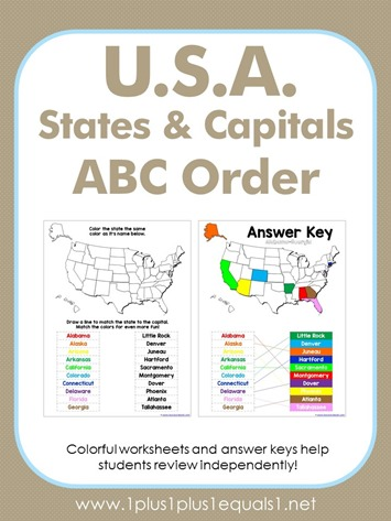 U.S.A. States and Capitals Worksheets - 1+1+1=1