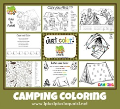 Camping Theme Coloring Printables