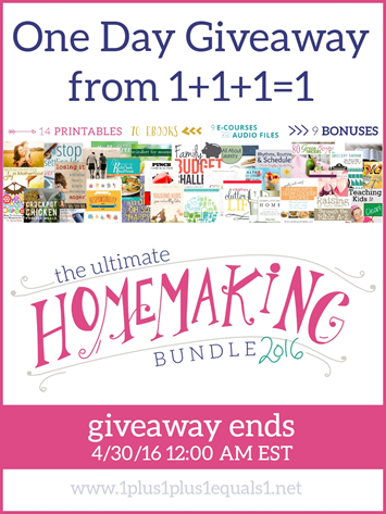 One Day Ultimate Homemaking Bundle Giveaway from 1 1 1=1
