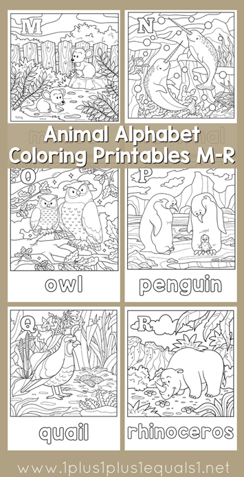 Animal Alphabet Coloring Printables M Through R