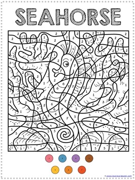 Color By Number Ocean Animals Coloring Pages 1 1 1=1