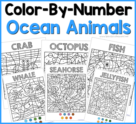 Color By Number Ocean Animals Coloring