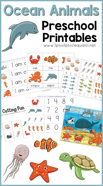 Ocean Animals Preschool Printables 1 1 1 1