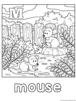 M is for Mouse Coloring Page