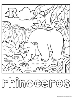 R is for Rhino Coloring Page