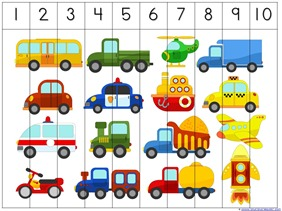 photo about Printable Puzzles for Preschoolers called Transport Preschool Pack - 1+1+1\u003d1