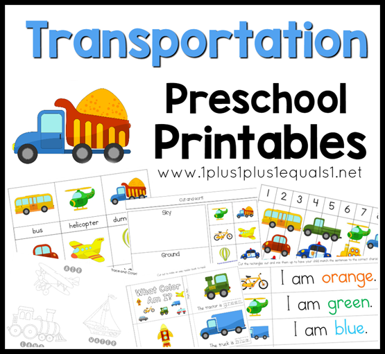 Transportation Preschool Pack on Numbers 1 10 Printable Cards
