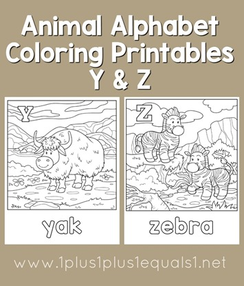 Animal Alphabet Coloring Printables Y And Z