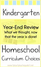 Kindergarten Homeschool Curriculum Choices Year-End Review