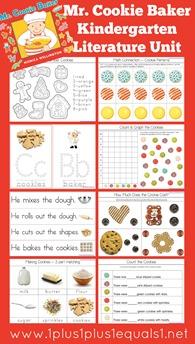 Mr. Cookie Baker Kindergarten Literature Unit Printables