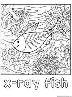 X is for X-Ray Fish Coloring
