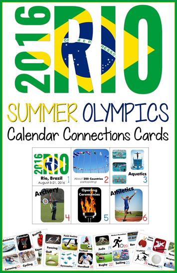 Summer Olympics 2016 Calendar Connections Cards