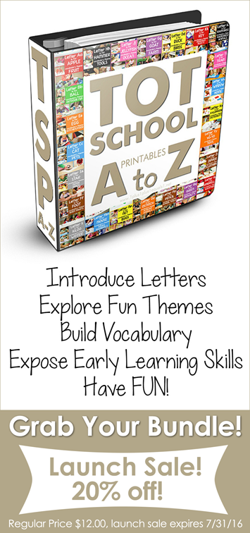 Tot School Printables A - Z Bundle Launch Sale