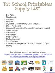 Tot School Printables Basic Supply List