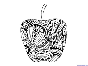 Apple Coloring Pages for Adults or Kids - 1+1+1=1