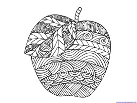 apple coloring pages for adults or kids 1 - Free Coloring Pages For Adults