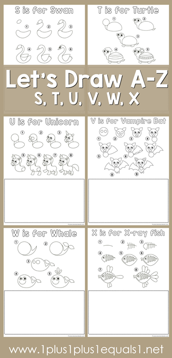 Let's Draw Printables - S, T, U, V, W, X
