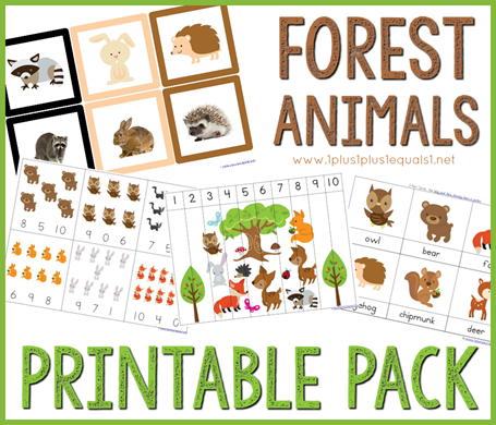 Forest Animals Printable Pack - 1+1+1=1