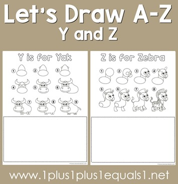 Let's Draw Printables - Y, Z